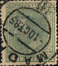 SPAGNA - 1879 - Effigie di Re Alfonso XII a sinistra - 5 cent. verde