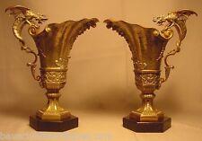 Superb Antique Pair Silvered Gilt Bronze Griffin Ewers