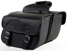 QUICK DETACH MOTORCYCLE SADDLEBAGS w/FLAMES UNIVERSAL FIT HARLEY-HONDA-INDIAN