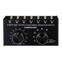 6 In 1 Out 6-Way Audio Selector Switch Box 3.5mm Speaker Headphone Jack Splitter