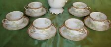 HAVILAND LIMOGES COFFEE / TEA SET, 6 CUPS DOUBLE GOLD, GREEN & PINK FLOWERS
