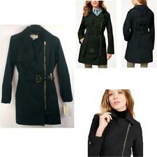 Michael Kors Petites Asymmetrical Hooded Belted Coat Black Sz PM New