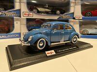 Volkswagen Beetle Bug 1955 Plus Die Cast Maisto Special Edition 1:18 scale Blue