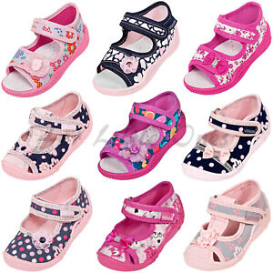 Girls canvas shoes slippers sandals trainers baby kids toddler UK 2.5 -8 nursery