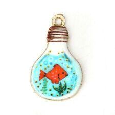 4 x Goldfish Light Bulb Enamel Pendant Charms