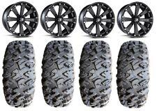 "MSA Black Kore 14"" UTV Wheels 30"" MotoClaw Tires Can-Am Maverick X3"