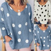 Women Cotton Linen Long Sleeve O-Neck Printed Plus Size Shirt Tops Autumn Blouse