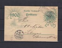 GERMANY 1899, Domestic card with interesting cancellation from 29/12/99