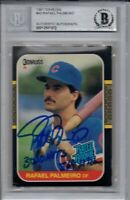 Rafael Palmeiro Chicago Cubs 1987 Donruss Rookie Inscribed Signed Card Beckett