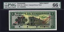 GUATEMALA 1 QUETZAL 1959-1964, SPECIMEN 0000000, PMG 66 GEM UNC EPQ, P-43s, RARE