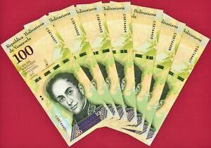 100000 Bolivares 2017 (Dealer Lot) of 7 UNC VENEZUELA NOTES (P-100) PRINTER CdMV
