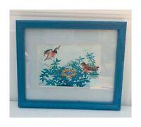 Robins Nest Blue Eggs Among Fruit Blossoms Original Framed Color Drawing Art 022