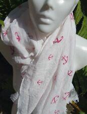 Pañuelo para el cuello bufanda chal MARÍTIMO Anker Blanco Rosa Talla 186x 68 cm