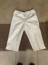 Women's Gloria Vanderbuilt Decorative Stretch Capris White Jeans Sz 12