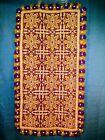 Vintage Woven Wool Tapestry Rug Flower Design Tasseled Made in Spain