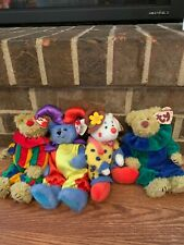 Ty Beanie Clown Bears, Four,Two Picadillys, Juggles, Calliope the Jester