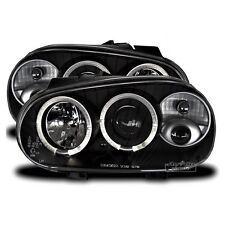 LED Angel Eyes Scheinwerfer Set für VW Golf 4 IV Schwarz 1997 - 2003