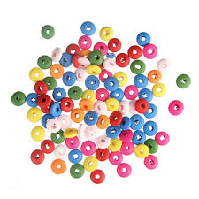 100pcs 10*5mm DIY Mixed Colorful Oblate Small Wood Beads Charms Bracelet Making