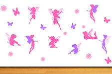 Pink & Purple Fairies Flowers & Butterflies - Pack of 22 Wall Art Stickers Fairy