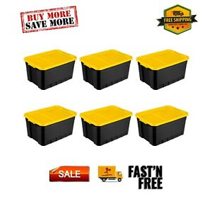 Sterilite 19 Gal. Stacker Tote Yellow Lily Set of 6 Plastic Indoor
