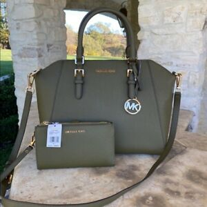 NWT MICHAEL KORS LARGE CIARA LEATHER SATCHEL/WALLET OLIVE GREEN/GOLD