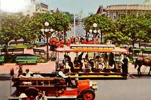 Vintage Postcard Disneyland Town Square Horse Drawn Streetcar Fire Truck