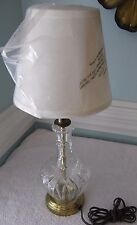 "VINTAGE~CUT GLASS~BRASS~TABLE LAMP~BEDROOM~PRETTY~HEAVY QUALITY~18"" TALL"