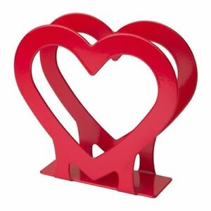Christmas Decoration Gift Heart Napkin Tissue Holder Red Shape Metal Stand