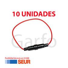 10X Cable de 17cm con Portafusibles para fusibles de vidrio Cristal 2cm ( 20mm )