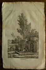 Gravure XVIIIème sur vergé filigrané etching engraving stampa