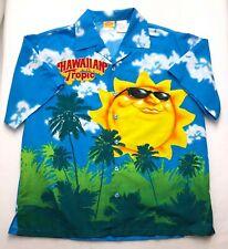E354 Hawaiian Tropic Blue Sky Happy Sun Sunshine Camp Shirt Tag sz L Large