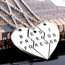 Slice Charm Pendants Chain Necklace Best Friend Forever Broken Heart Vintage TL