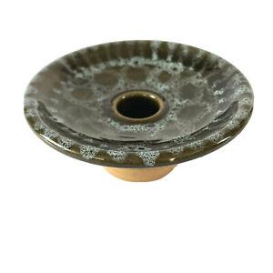 Vtg Studio Pottery Taper Dinner Candle Holder Saucer Pedestal Green Honeycomb UK