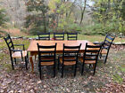 Tiger maple kitchen dining table country French style Leonards Sackonk Mass 84in