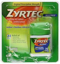 Tabletas 10 MG Cetirizina Antihistamínico Alivio 24 Horas Alergia Zyrtec