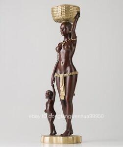 Copper Africa half-naked Woman Child Boy Mother Son Key Basket Art Sculpture