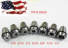 New 7pcs Er20 Spring Collet Set For Cnc Milling Lathe Tool Engraving Machine