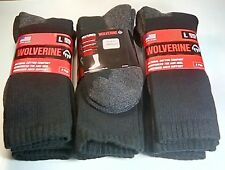 Wolverine Cotton Full Cushion Steel Toe Boot Sock, Large, Black, 6 pair $28.99