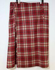 Eddie Bauer Long Wool Wrap Straight Pencil Skirt Red Black Plaid 18 40W 35L