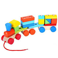Wooden Train Pull Along Toy Colourful Stacking Block Shape Sorter Vehicle Play