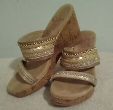 JellyPops Memory Foam High Heel Sandals Size 8.5 M sequins beige and silver.