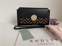 "Radley ""Bliss Crescent "" Black Purse Wallet With Wristlet Strap & gift Bag -NEW"