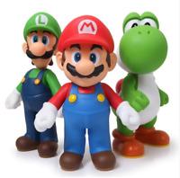 """Super Mario 3pcs/set Bros Mario Yoshi Luigi PVC Action Figure Collectible 4.7"""""""