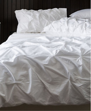 Shabby Hampton Chic White Pin Tuck Double Duvet Doona Quilt Cover Pillow Bed Set