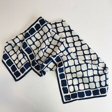 Vera Neumann Scarf Navy Blue Ivory Square Acetate 26 x 26