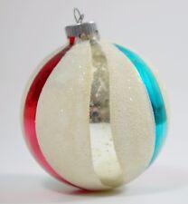 Rare Vintage Shiny Brite Patriotic Red, White, Blue Glass Christmas Ornament
