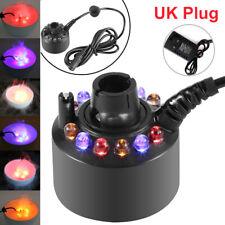 LED Ultrasonic Mist Maker Fogger Fountain Humidifier Pond Fish Tank Atomizer UK