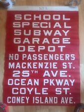 1950's Bmt New York Brooklyn Bus Cloth Vellum Sign Ocean Parkway Coney Island Av