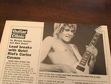 1983 Vintage 1Pg Article Guitar Clinic With Quiet Riot Carlos Cavazo Lead Breaks