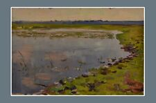 Old landscape, old original oil painting, Soviet art. Artist A.Shkurku, 1959.